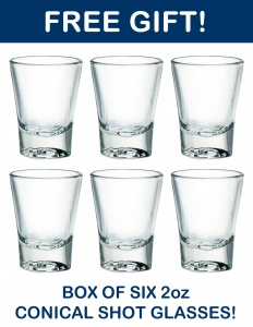 Free box of six 2oz conical shot glasses with this pack!